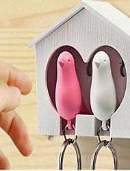Недорогие -один комплект 2шт белый деревянный дом воробей птица брелок случайный цвет