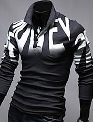 MEN - T-shirt - Informale A camicia - Maniche lunghe Misto cotone