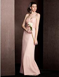 bainha / coluna espaguete tiras comprimento do chão vestido de dama de seda com draping ruching by lan ting bride®