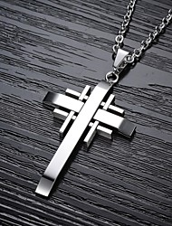 cheap -Men's Cross Shape Pendant Necklace Titanium Steel Gold Plated Pendant Necklace Christmas Gifts Wedding Party Daily Casual Costume Jewelry