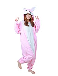 cheap -Kigurumi Pajamas Rabbit Bunny Onesie Pajamas Costume Polar Fleece Pink Cosplay For Adults' Animal Sleepwear Cartoon Halloween Festival /