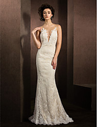 cheap -Mermaid / Trumpet Plunging Neckline Sweep / Brush Train Lace Wedding Dress with Appliques by LAN TING BRIDE®