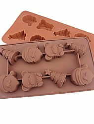Festival Christmas Theme Shape Cake Ice Jelly Chocolate Molds,Silicone 21.5×10.8×2 CM(8.5×4.3×0.8 INCH)