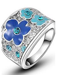 preiswerte -Frauen roxi exquisite Platin überzog blaue Pflaumenblüte Aussage Ringe (1 Stück)