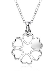 cheap -Cremation jewelry 925 sterling silver Heart Flower Shape Pendant Necklace for Women