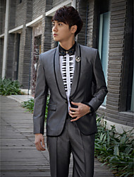 Gray Solid Slim Fit Tuxedo In Polyester