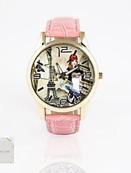 персональный подарок новый стиль ПВХ кожаный ремешок, печать циферблат unisexfashion кварцевые часы