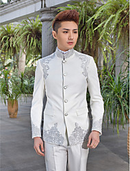 cheap -Tuxedos Slim Fit Standard Fit Collar Peak Mandarin Collar One-Button Single Breasted More-Button Cotton Polyester Wool & Polyester Blend