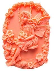 お買い得  -花の妖精型のフォンダンケーキチョコレートシリコーン型ケーキデコレーションツール、l9.5cm * w6.5cm * h3cm