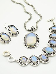 cheap -Toonykelly Vintage  Antique Silver Transparent Stone(Earring and Necklace and Bracelet) Jewelry Set