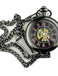 Недорогие -Муж. Карманные часы С гравировкой сплав Группа Винтаж Черный / Механические, с ручным заводом