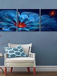 Недорогие -е-Home® растягивается во главе холст Печать на холсте, синие цветы эффект вспышки привело набор 3