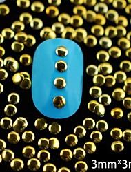 baratos -100pcs dourado rodada de metal rebite arte decoração de unhas 3 milímetros