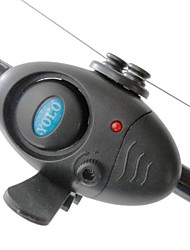 cheap -Electronic LED Light Fish Bite Sound Alarm Alert Bell Clip On Fishing Rod BlacK