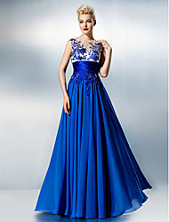 cheap -A-Line Illusion Neck Floor Length Chiffon / Lace See Through Prom / Formal Evening Dress with Beading / Embroidery / Lace by TS Couture®