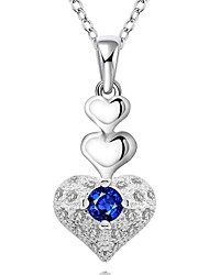 cheap -Cremation jewelry 925 sterling silver 3-Layer Heart Shape with Zircon Pendant Necklace for Women