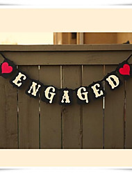 "Wedding Décor High Quality Handmade Cardboard Black with White ""ENGAGED""  Engagement Banner"