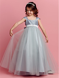 cheap -Ball Gown Floor Length Flower Girl Dress - Tulle Short Sleeves Square Neck by LAN TING BRIDE®