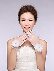 Elfenbein Tüll Fingerspitzen Handgelenk Länge Hochzeit Handschuhe mit Blumen mit Perlen asg20