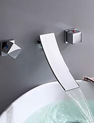 Moderne Montage mural Jet pluie with  Soupape céramique 3 trous Deux poignées trois trous for  Chrome , Robinet lavabo