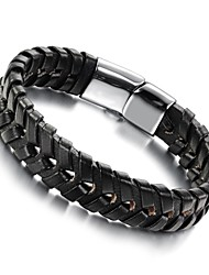 couro masculino tecido pulseira de titânio dos homens fivela de aço
