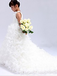 Ball Gown Cathedral Train Flower Girl Dress - Organza Sleeveless Jewel Neck with Beading Sash / Ribbon Cascading Ruffles by LAN TING