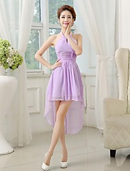 cheap -A-Line Princess Halter Asymmetrical Chiffon Bridesmaid Dress with Ruched Criss Cross by Hua Cheng fashion