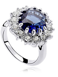 cheap -Women's Statement Ring Crystal Dark Blue Zircon Cubic Zirconia Alloy Luxury Fashion Party Costume Jewelry