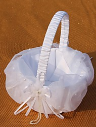 cheap -White Basket With Tulle Flower Girl Basket Wedding Ceremony Beautiful
