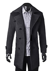 preiswerte -Zian®men's Lapel Collar  Zipper Solid Color Woolen Long Sleeves Trench Coat