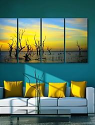 preiswerte -E-Home® Leinwand Kunst Dämmerung dekorative Malerei Set von 4