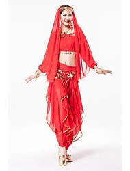 Belly Dance Outfits Women's Performance Chiffon Sequined Gold Coins Sequins Long Sleeve Dropped