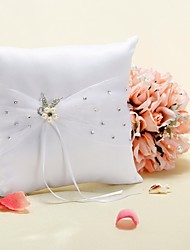 Ring Pillow In White Satin With Faux Pearl Flower and Rhinestone