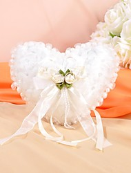 cheap -Lovely Flowers And Pearl Decoration Smooth Satin Wedding Ring Pillow