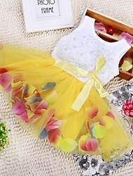 Ball Gown Princess Tea Length Flower Girl Dress - Tulle Sleeveless Scoop Neck with Ribbon