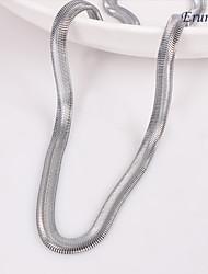 baratos -eruner®unisex 6 milímetros plana cadeia cobra colar de corrente de prata No.123