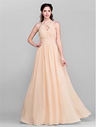 Linea-A Con decorazione gioiello Lungo Chiffon Vestito da damigella con Drappeggio Fascia / fiocco in vita Drappeggio di lato Con ruche di