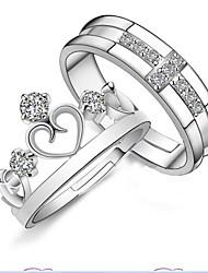 Недорогие -Муж. Жен. Кольца для пар Открытые Регулируется Стерлинговое серебро В форме короны Бижутерия Свадьба Для вечеринок Повседневные