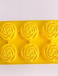 6-Loch-Rose Form Kuchen Eis Gelee Schokoladenformen, Silikon 27,5 × 18 × 3,6 cm (11,8 × 7,1 × 1,4 Zoll)