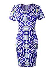 gola redonda print geométrico wrap dress das mulheres