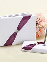 Wedding Guest Book and Pen Set in White and Purple Accent Sign In Book