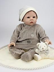 billige -Reborn-dukker Baby 22 inch Silikone Vinyl - livagtige Børne Pige Legetøj Gave