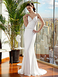 cheap -Mermaid / Trumpet Spaghetti Straps Sweep / Brush Train Satin Chiffon Wedding Dress with Beading Ruche Side-Draped by LAN TING BRIDE®