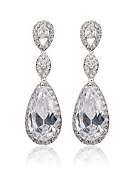 cheap -Women's White White Cubic Zirconia Drop Earrings - Cubic Zirconia Classic White For Party