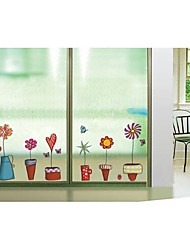 Wall Stickers Wall Decals, Style Cartoon Flower Pot PVC Wall Stickers