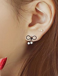 Women's Stud Earrings Unique Design Fashion Costume Jewelry Pearl Alloy Bowknot Jewelry For Party Daily Casual