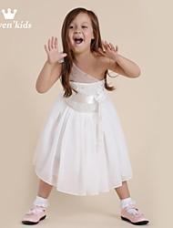 abordables -Vestido Chica de Floral Sin Mangas Primavera Verano Otoño Blanco