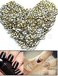 100pcs 2,5 millimetri punk misto d'oro&rivetto decorazione di argento nail art