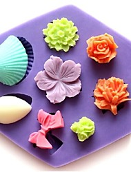 Mini Rose Shell Bowknot Flower Shaped Fondant Cake Chocolate Silicone Mold Cupcake Decoration Tools,L8.5cm*W7.5cm*H1.3cm