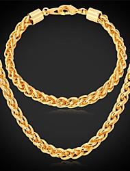 baratos -u7®twisted corda cadeia colar pulseira de ouro 18k verdadeiro banhado longo robusto colar conjunto de jóias para homens